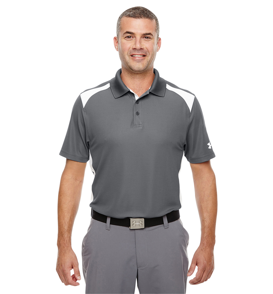 Under Armour UA Performance Team Polo du Homme L Graphite/Blanc MucT8n